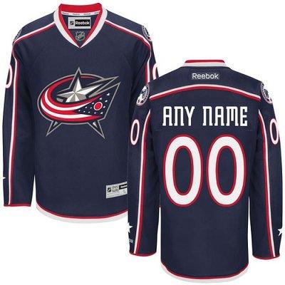 Men's Reebok Columbus Blue Jackets Customized Authentic Navy Blue Home NHL Jersey