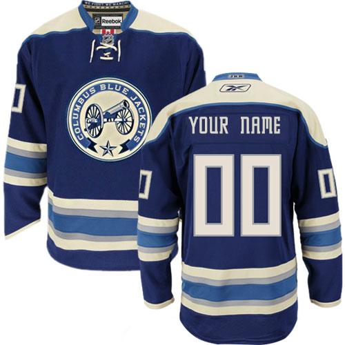 Men's Reebok Columbus Blue Jackets Customized Authentic Navy Blue Third NHL Jersey