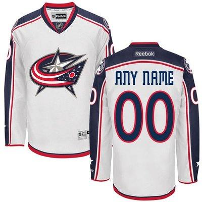 Men's Reebok Columbus Blue Jackets Customized Authentic White Away NHL Jersey