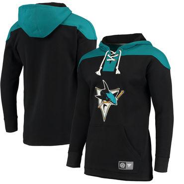 Men's San Jose Sharks Fanatics Branded Black Blue Breakaway Lace Up Hoodie