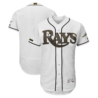Men's Tampa Bay Rays Majestic White 2018 Memorial Day Authentic Collection Flex Base Team Custom Jersey