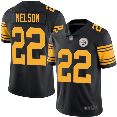 Men Pittsburgh Steelers #22 Steven Nelson Black Rush Vapor Untouchable Limited Jersey