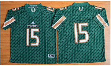Miami Hurricanes #15 Brad Kaaya Green Stitched NCAA Jerseys
