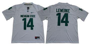 Michigan State Spartans 14 Brian Lewerke White Nike College Football Jersey