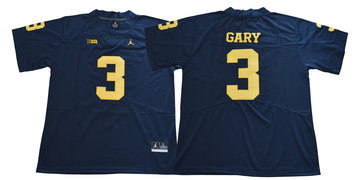 Michigan Wolverines 3 Rashan Gary Navy Jordan College Football Jersey