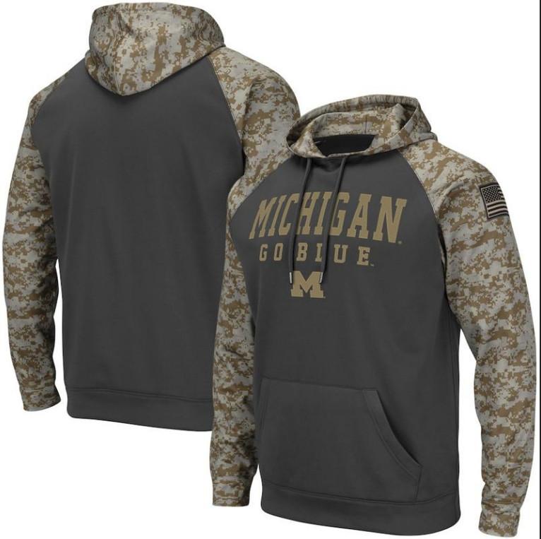 Michigan Wolverines Gray Camo Men's Pullover Hoodie