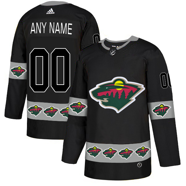 Minnesota Wild Black Men's Customized Team Logos Fashion Adidas Jersey