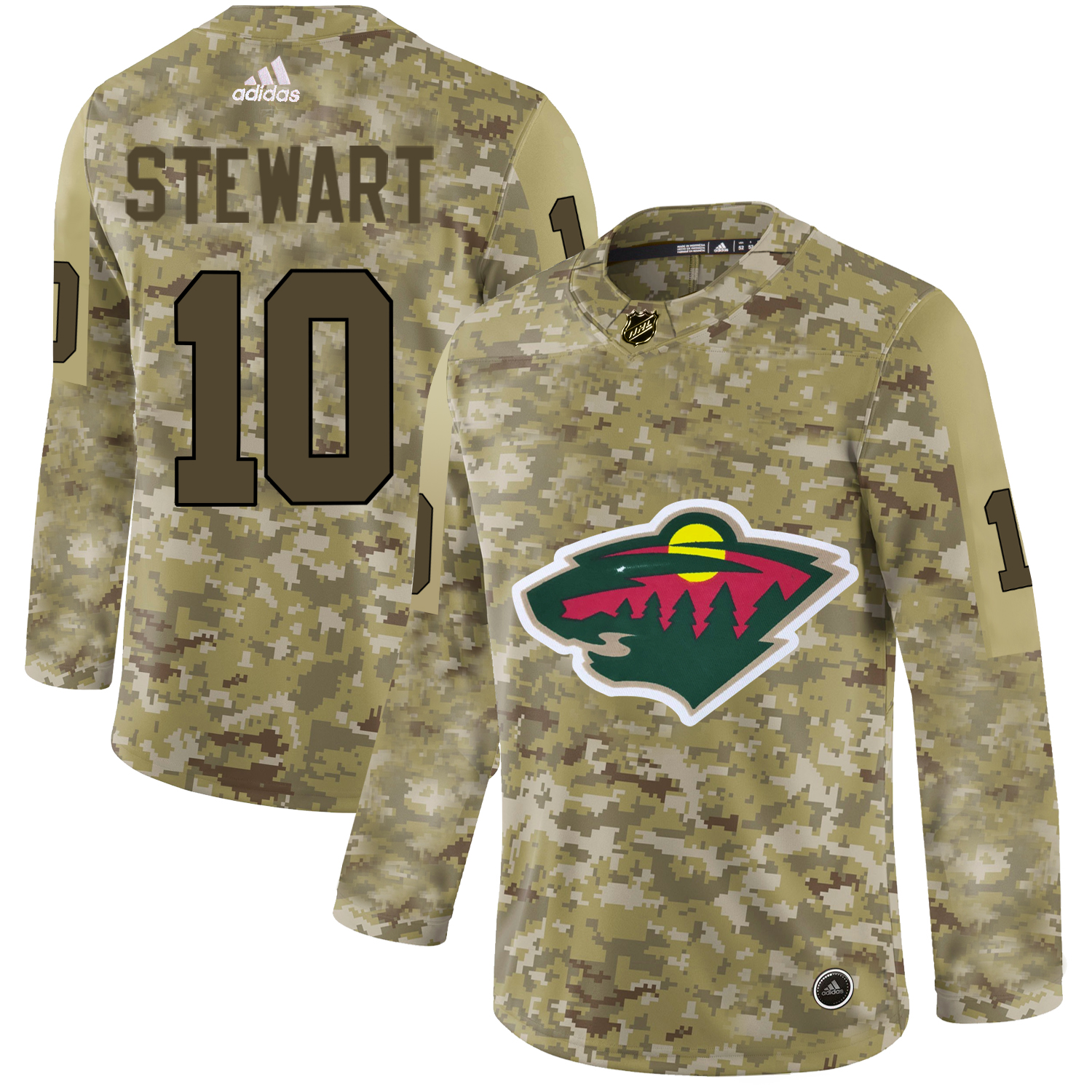 Minnesota Wild Camo Men's Customized Adidas Jersey