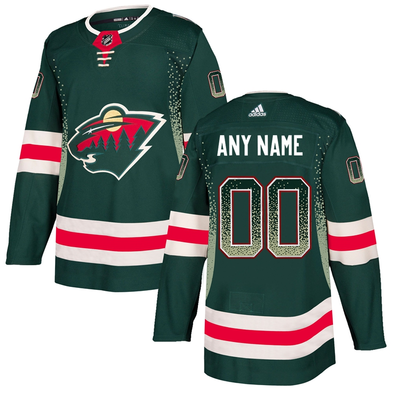 Minnesota Wild Green Men's Customized Drift Fashion Adidas Jersey