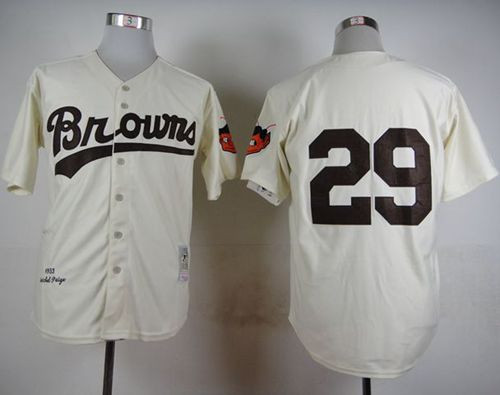 Mitchell And Ness 1953 St. Louis Browns #29 Satchel Paige Cream Throwback Stitched Baseball Jersey