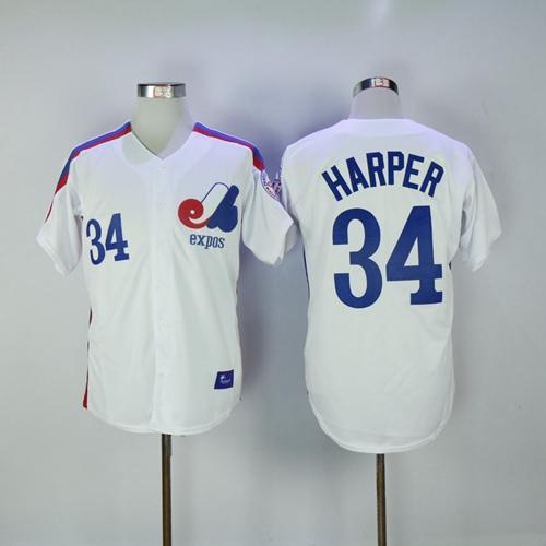 Mitchell And Ness Expos #34 Bryce Harper White Throwback Stitched MLB Jersey