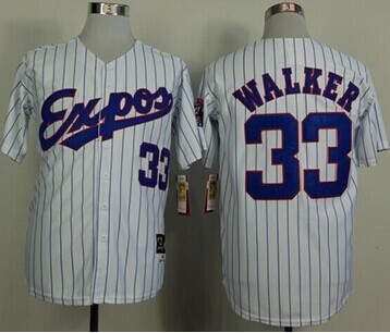 Montreal Expos #33 Larry Walker White(Black Strip) Mitchell And Ness 1982 Throwback Stitched Baseball Jersey