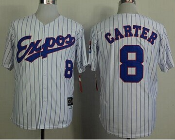 Montreal Expos #8 Gary Carter White(Black Strip) Mitchell And Ness 1982 Throwback Stitched Baseball Jersey