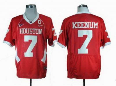 NCAA Houston Cougars Case Keenum 7 Red C-USA Patch College Football Jerseys