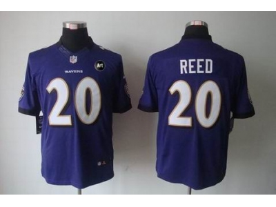 NEW Baltimore Ravens #20 Ed Reed purple jerseys(Limited Art Patch)