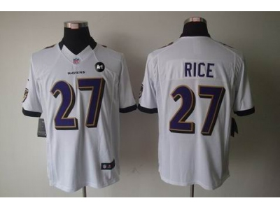NEW Baltimore Ravens #27 ray rice white jerseys(Limited Art Patch)