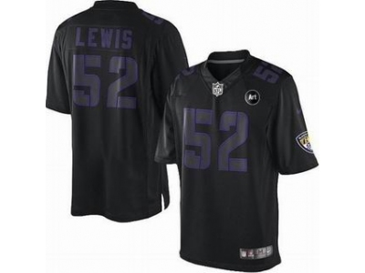 NEW Baltimore Ravens #52 Ray Lewis black jerseys[impact Limited Art Patch]