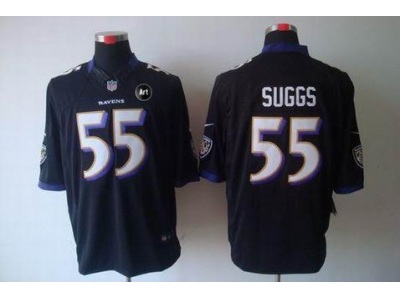 NEW Baltimore Ravens #55 Terrell Suggs Black jerseys(Limited Art Patch)