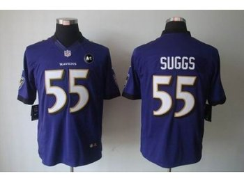 NEW Baltimore Ravens #55 Terrell Suggs Purple jerseys(Limited Art Patch)