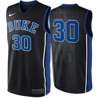 NEW Duke Blue Devils #30 Elite Replica Basketball Jersey - Black