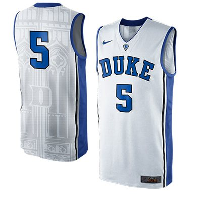 NEW Duke Blue Devils #5 Authentic Elite Basketball Jersey - White