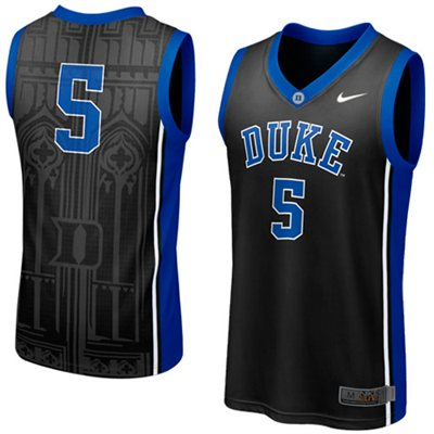 NEW Duke Blue Devils #5 Elite Aerographic Replica Basketball Jersey - Black