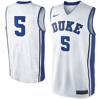 NEW Duke Blue Devils #5 Elite Replica Basketball Jersey - White