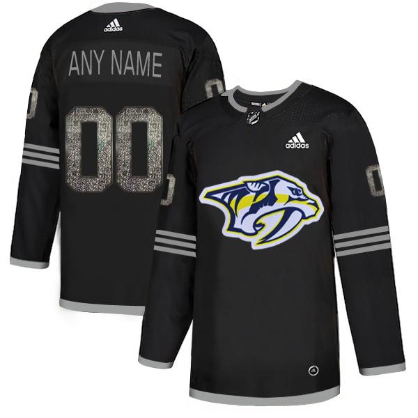 Nashville Predators Black Shadow Logo Print Men's Customized Adidas Jersey
