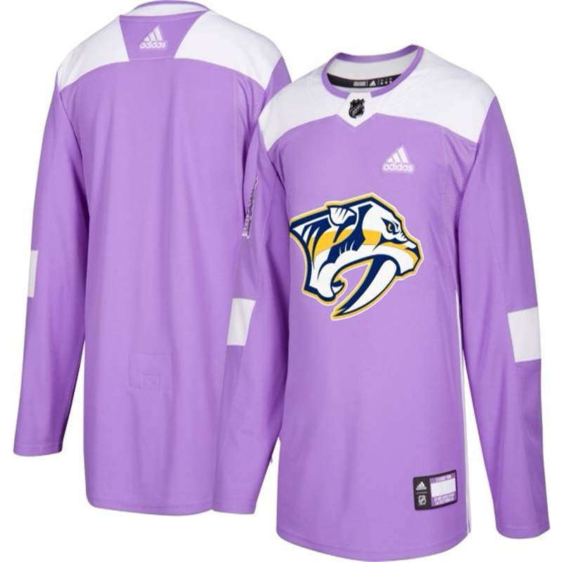 Nashville Predators Purple Adidas Hockey Fights Cancer Custom Practice Jersey