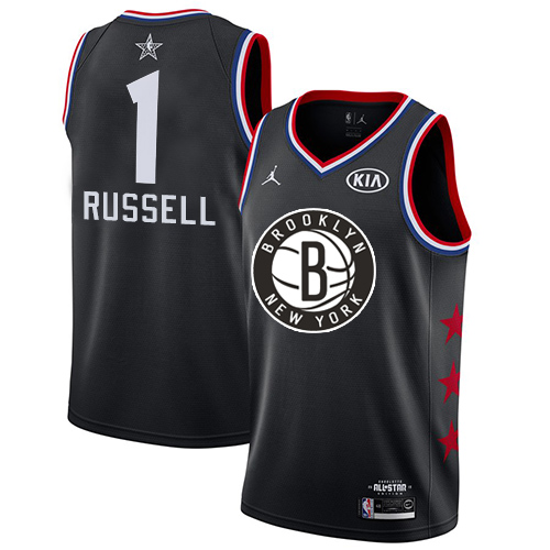 Nets #1 D'Angelo Russell Black Basketball Jordan Swingman 2019 All-Star Game Jersey