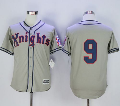 New York Knights The Natural #9 Roy Hobbs Grey Movie Stitched Baseball Jersey