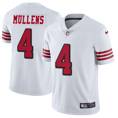 Nike 49ers #4 Nick Mullens White Rush Men's Stitched NFL Vapor Untouchable Limited Jersey