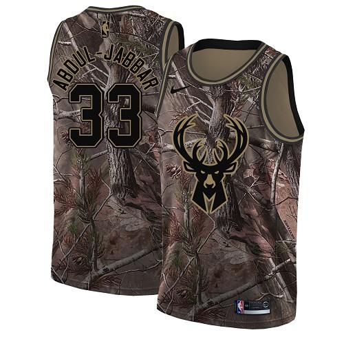 Nike Bucks #33 Kareem Abdul-Jabbar Camo Youth NBA Swingman Realtree Collection Jersey