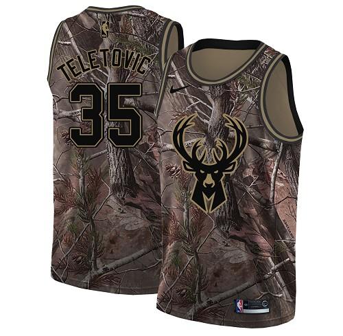 Nike Bucks #35 Mirza Teletovic Camo Youth NBA Swingman Realtree Collection Jersey
