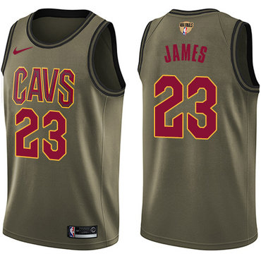 Nike Cavaliers #23 LeBron James Green Salute to Service The Finals Patch NBA Swingman Jersey