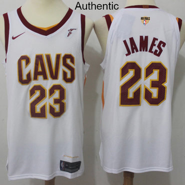 Nike Cavaliers #23 LeBron James White The Finals Patch NBA Authentic Association Edition Jersey