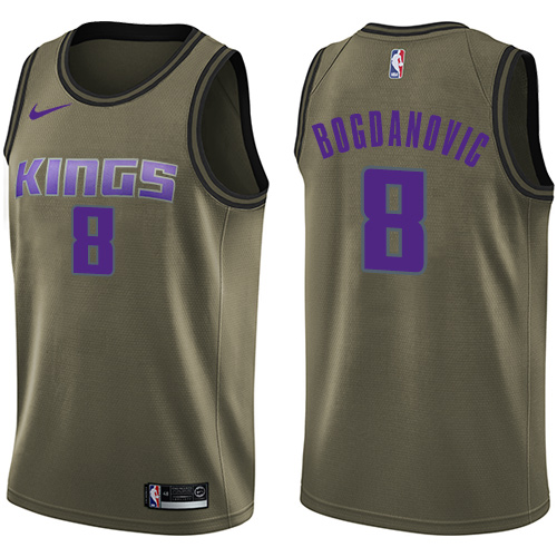 Nike Kings #8 Bogdan Bogdanovic Green NBA Swingman Salute to Service Jersey