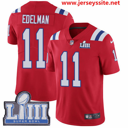 Nike Patriots #11 Julian Edelman Red Alternate Super Bowl LIII Bound Men's Stitched NFL Vapor Untouchable Limited Jersey