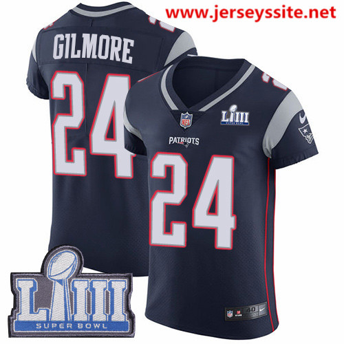 Nike Patriots #24 Stephon Gilmore Navy Blue Team Color Super Bowl LIII Bound Men's Stitched NFL Vapor Untouchable Elite Jersey