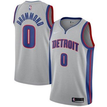 Nike Pistons #0 Andre Drummond Silver NBA Swingman Statement Edition Jersey