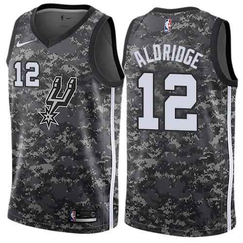 Nike Spurs #12 LaMarcus Aldridge Black NBA Swingman City Edition 2018 19 Jersey