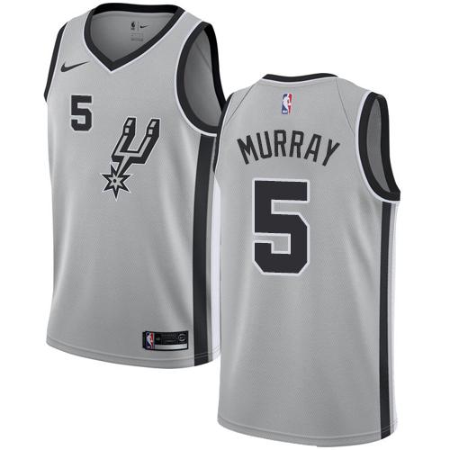 Nike Spurs #5 Dejounte Murray Silver NBA Swingman Statement Edition Jersey