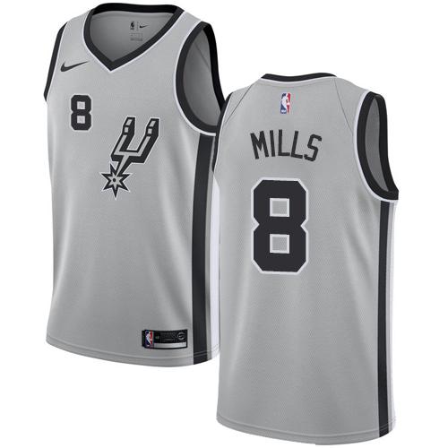 Nike Spurs #8 Patty Mills Silver NBA Swingman Statement Edition Jersey