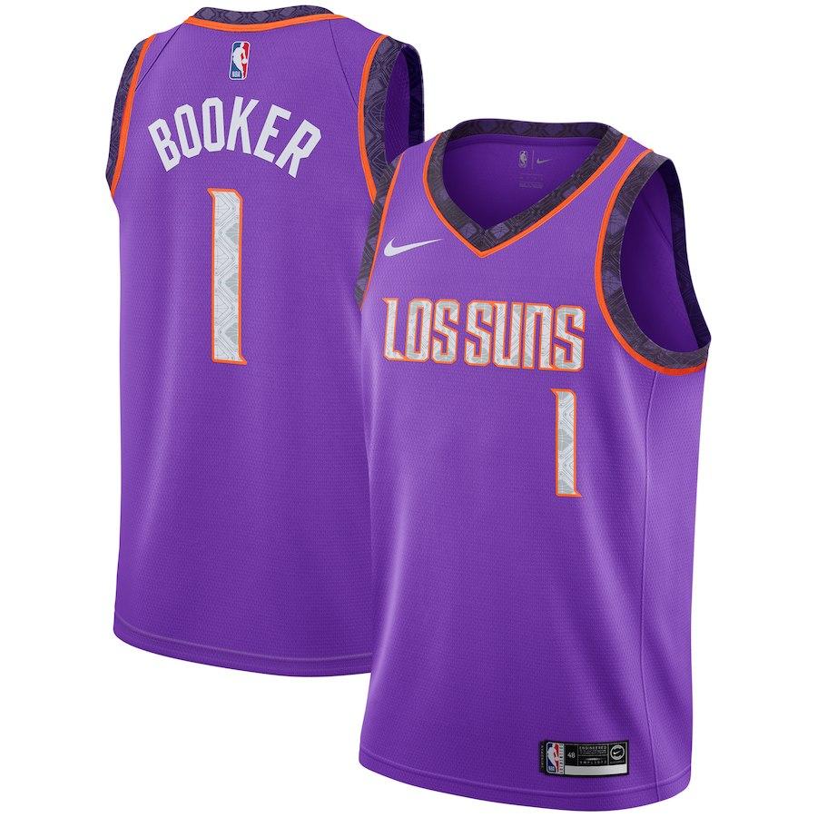 Nike Suns 1 Devin Booker Purple 2018-19 City Edition Nike Swingman Jersey