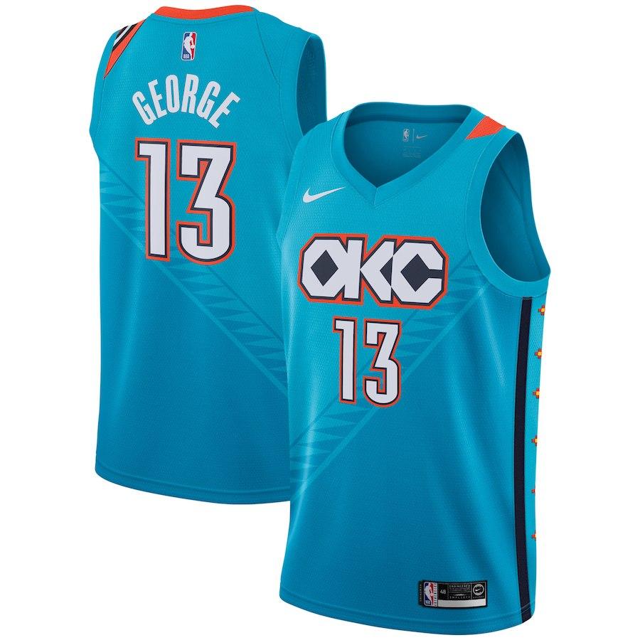 Nike Thunder 13 Paul George Turquoise 2018-19 City Edition Nike Swingman Jersey