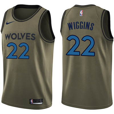 Nike Timberwolves #22 Andrew Wiggins Green Salute to Service Youth NBA Swingman Jersey