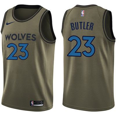Nike Timberwolves #23 Jimmy Butler Green Salute to Service Youth NBA Swingman Jersey