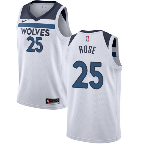 Nike Timberwolves #25 Derrick Rose White NBA Authentic Association Edition Jersey