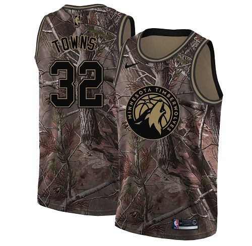 Nike Timberwolves #32 Karl-Anthony Towns Camo Youth NBA Swingman Realtree Collection Jersey