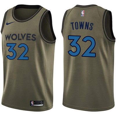 Nike Timberwolves #32 Karl-Anthony Towns Green Salute to Service Youth NBA Swingman Jersey